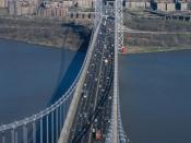 English: , spanning the Hudson River between New York City and New Jersey. View from top of New Jersey Tower to New York Tower.