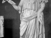 Livia Drusilla, standing marble sculpture as Ops, with wheat sheaf and cornucopia. Marble, Roman artwork, 1st century CE.