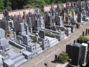 English: A graveyard in Tokyo. The boards behind the graves show the Buddhist name the deceased receives after death. The number and prestige of the characters in the Buddhist name depends on the size of the donation to the temple.
