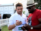 English: Alex Reid with a friend at the Duke of Essex Polo in Epping Forest, Kent