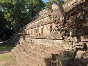 English: A view of the southern facade of Temple 11 from the East Court of Copan