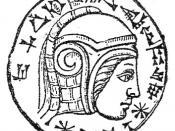 English: An engraving on an eye stone of onyx with an inscription of Nebuchadnezzar II. Español: moneda con el rostro de Nabucodonosor II, rey del imperio neobabilónico entre 604-562 aDC Svenska: Nebukadnessar II, kung av det nybabyloniska eller kaldéiska