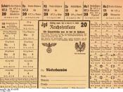 Food rationing in fascist Germany. A food ration coupon for the Brandenburg district from 1941.