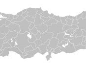 Blank map of Republic of Turkey's provinces. The regions are carefully separated on per pixel basis and ready for filling in with a paint tool.