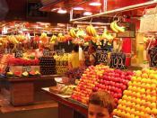Fresh produce at the Las Ramblas Market in Barcelona, Spain. Fuji F11 Camera at ISO 200.