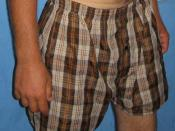 English: A pair of brown and grey checked boxer shorts.