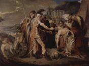 18th-century depiction of King Lear mourning over his daughter Cordelia