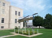 Replica of the Hubble Space Telescope located at the county courthouse in Marshfield, Missouri. A plaque nearby says it was erected June 12, 1999.