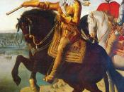 Louis XIII on horseback, with Cardinal Richelieu at the Siege of La Rochelle.