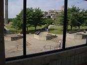 Two of the 666s: the benches and the stairs as seen from the catwalk between the Campus Center and the Liberal Arts Building