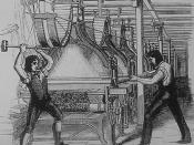 English: Frame-breakers, or Luddites, smashing a loom. Machine-breaking was criminalized by the Parliament of the United Kingdom as early as 1721, the penalty being penal transportation, but as a result of continued opposition to mechanisation the Frame-B
