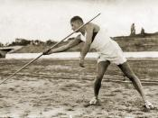 English: A Bulgarian javelin thrower Български: Хвърляне на копие, около 1934 г
