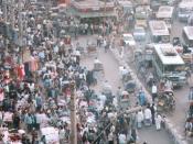 Dhaka street crowds. Bangladesh.