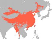 English: Extension of Sino-Tibetan languages, source: Huffman World Language Maps in GMI