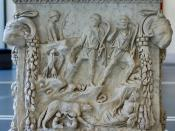Representation of the lupercal: Romulus and Remus fed by a she-wolf, surrounded by representations of the Tiber and the Palatine. Panel from an alter dedicated to the divine couple of Mars and Venus. Marble, Roman artwork of the end of the reign of Trajan