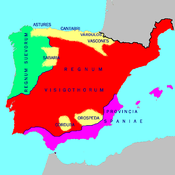 Visigothic Hispania and the Byzantine province of Spania circa 560 AD.