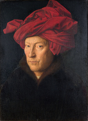 Portrait of a Man (Self-portrait?). Inscribed on frame (top): AΛC.IXH.XAN. (bottom): JOHES.DE.EYCK.ME.FECIT.ANO.M O . CCCC O .33 O .2I.OCTOBRIS I can / Jan van Eyck made me on 21 October 1433. The National Gallery, London. London only.