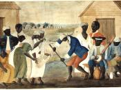 The Old Plantation (anonymous folk painting). Depicts African-American slaves dancing to banjo and percussion