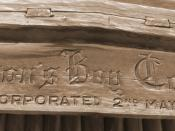 Photo of old Hudson's Bay logo on a fur trading post