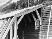 English: Construction of snow shed on the Canadian Pacific Railway.