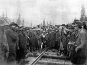 The last, last spike of the Canadian Pacific Railway, Craigellachie, British Columbia, November 7, 1885