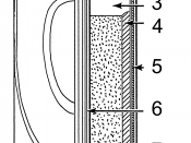 English: Line art drawing of a dry cell. Brass cap Plastic seal Expansion space Porous cardboard Zinc can Carbon rod Chemical mixture