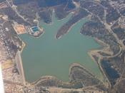 Aerial photo of Happy Valley Reservoir, South Australia. Commercial flight.