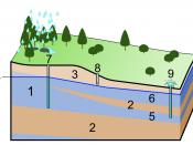 English: 1. Aquifer 2. Aquitard 3. Unsaturated zone 4. Water table 5. Confined aquifer 6. Unconfined aquifer 7. Deep well 8. Sort well 9. Artesian well