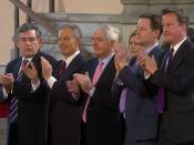 English: Former British Prime Ministers Gordon Brown, Tony Blair, Sir John Major, Deputy Prime Minister Nick Clegg and Prime Minister David Cameron during U.S. President Barack Obama's address to Parliament.