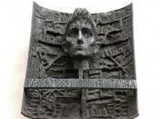 English: Memorial tablet by Karel Hladik to Franz Kafka at the portal of Kafka's birthplace. Deutsch: Gedenktafel von Karel Hladik für Franz Kafka, angebracht am Portal von Kafka's Geburtshaus.