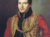 English: A portrait of Mikhail Yurievich Lermontov by Pyotr Zabolotsky, painted in 1837. This reproduction is in color. Русский: М. Ю. Лермонтов