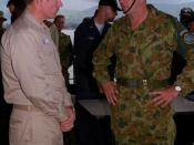 USS Blue Ridge (LCC-19), 11 February 2000, Dili, East Timor--International Forces East Timor Major General Cosgrove after Commander Seventh Fleet staff briefing.