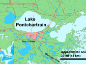 New Orleans, Louisiana sits between (and below) the Mississippi River and Lake Pontchartrain.