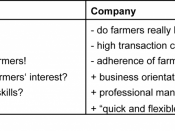 English: Table 8: Advantages (+) and disadvantages (-) of a producer organisation versus a company set-up. Belongs to The Organic Business Guide.