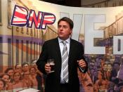 English: Nick Griffin MEP speaks at a British National Party press conference in Manchester.