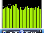Windows Media Player 11 running in mini mode(in Windows XP MCE) showing a visualization.