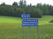 Sign in a rural area in Dalarna, Sweden