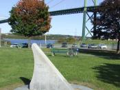 English: Africville monument, Seaview Park and A Murray MacKay Bridge in Halifax Nova Scotia