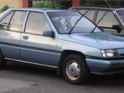 The front of a first generation Proton Saga, in Bangsar, Kuala Lumpur, Malaysia.