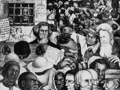 Panel from Diego Rivera's mural at Unity House, depicting the growing conflict over slavery that eventually led to the Civil War.  Also included are references to the Mexican War and the discovery of gold in California.  Important figures include Henry Da