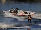 English: A motor boat pulling a water skier in Victoria, Australia