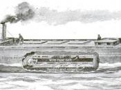 English: The water caterpillar or track drive propulsion for boats predated the use of land based tracked vehicles by about 50 years.