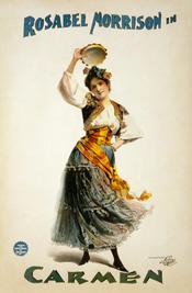 English: Poster for a circa 1896 American production of Georges Bizet's Carmen, starring Rosabel Morrison, and under the management of Edw. J. Abra[ha]m. Français : Affiche pour une mise en scène américaine de 1896 de la Carmen de Bizet, dirigée par Edw.