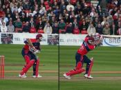 Before the ball reaches a batsman (left) the bat is held in a high backlift, before stepping forward and swinging through for a forward drive (right).