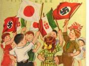 "English: Children waving German, Italian, and Japanese flags of 1938. (Axis powers) Svenska: Japanskt flygblad från 1938: Tre kamratländer (Nakayoshi sangoku) 日本語: 1938年のプロパガンダ葉書""仲良し三国"""