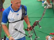 English: n archer preparing for competition at the in Singapore.