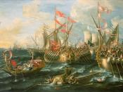 English: The Battle of Actium, 2 September 31 BC, by Lorenzo A. Castro, painted 1672 Downloaded from http://www.nmm.ac.uk/mag/images/700/BHC0251_700.jpg.