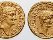 Mark Antony and Octavian. 41 BC. AV Aureus (7.95 gm). Mint moving with Mark Antony. M. Barbatius Pollio, moneyer. M ANT IMP AVG III VIR R P C M BARBAT Q P, bare head of Antony right / CAESAR IMP PONT III VIR R P C, bare head of Octavian right. Crawford 51