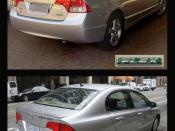 English: Two clean vehicle versions of the Honda Civic. On top a Brazilian flexible-fuel vehicle and below an US gasoline-electric hybrid. Both pics already uploaded on Wiki Commons (see below). Photo arrangement with Photoshop