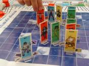 View of a game of Strange Synergy, a card and board game from Steve Jackson Games, played in Sweden